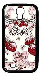 Samsung Galaxy S4 I9500 Black Hard Case - Retro Pattern Strawberry Bow Galaxy S4 Cases