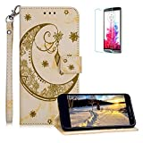 Funyee Magnetic Flip Case for LG K10 2018 [Free Screen Protector],Luxury Moon Embossed Pattern PU Leather Soft Wallet Case [Built-in Credit Card Slots] for LG K10 2018,Yellow