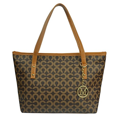 Micom Casual Signature Printing Pu Leather Tote Shoulder Handbag with Metal Decoration for Women (Coffe) (Leather Handbag Shoulder Tote)