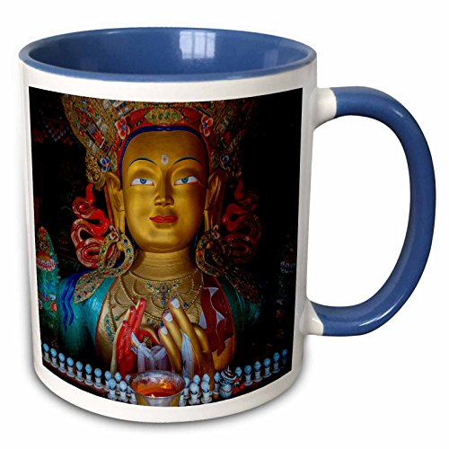 3dRose Danita Delimont - Ellen Clark - Religion - Jammu and Kashmir, Ladakh, Maitreya Buddha at Thiksey Monastery - 15oz Two-Tone Blue Mug (mug_188093_11)