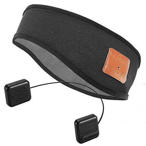 Headband Wireless Headphones - Bluetooth Headband Sweatband-Topple V4.2 Superior Wireless Music Headband with HD Stereo Headphone Sleep headset Earphone and Mic, Hands free for Ourdoor Sports Running,Hiking,Exercise-Black
