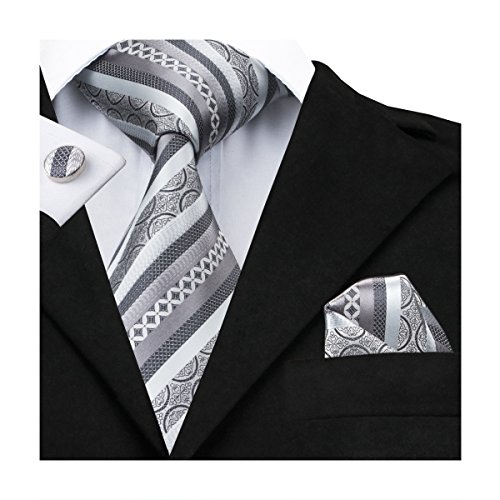 Stripes Handkerchief Necktie - Hi-Tie Men Silver Gray Stripes Tie Handkerchief Necktie with Cufflinks and Pocket Square Tie Set