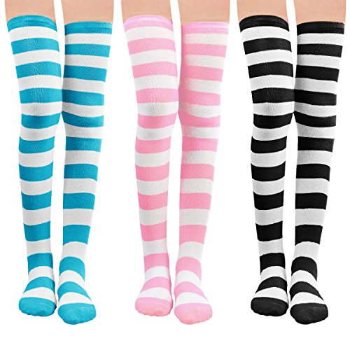 Womens Knit Knee-High Socks - Leg Warmer Knit Crochet High Boot Thigh Socks Leggings (3 pairs-wide) from MUQU