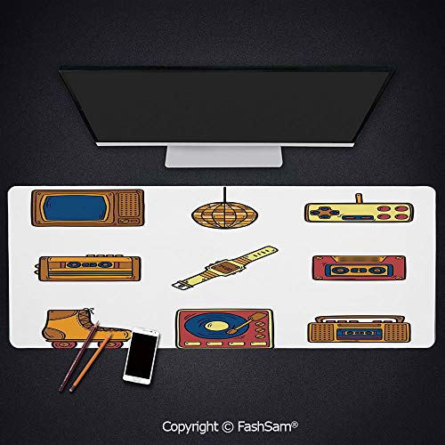 Personalized Large Mouse Pad Cartoon Illustration with Old Fashioned Technology Lifestyle Theme Nostalgic Artwork Keyboard Pad for Office Desktop(W35.4xL15.7)
