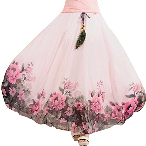 Ashir Aley Woman's Summer Beauty Chiffon Long Floral Maxi Skirt (L Petite,Pink)