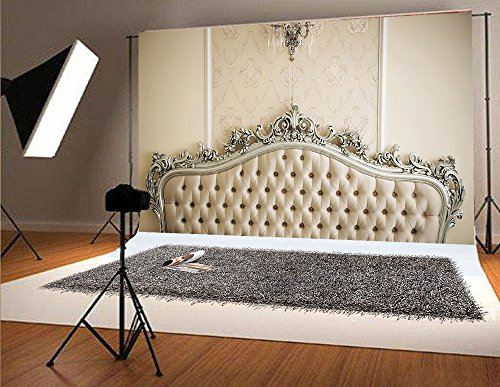 7x5ft Yellow Headboards for Bedrooms Photography Backdrops White Chandelier No Wrinkles for Children Photo Studio Background