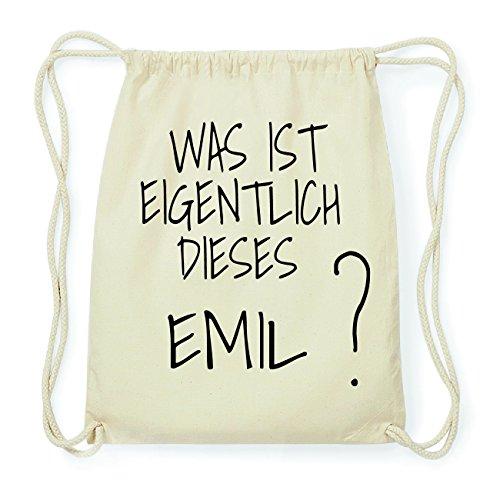 JOllify EMIL Hipster Turnbeutel Tasche Rucksack aus Baumwolle - Farbe: natur Design: Was ist eigentlich