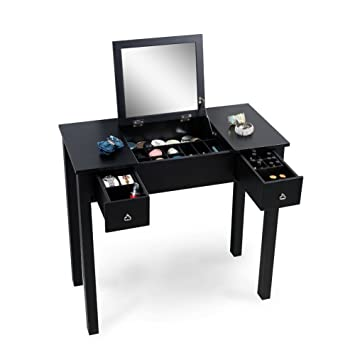 Amazoncom Organizedlife Black Dressing Table Vanity With Mirror