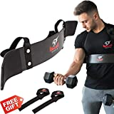 Armageddon Sports Premium Arm Blaster Bicep Isolator Curl Support + Bonus Premium Lifting Straps, Heavy Duty Bicep Blaster Muscle Builder for Triceps/Biceps Workout, Build Bigger Arms