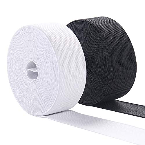 Elastic Bands for Sewing, 1 Inch Wide Elastic Fabric Band Springy Stretch Knitting Elastic Spool 10 Yard (5 Yard White,5 Yard ()