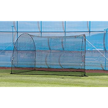 Image of Batting Cages HEATER SPORTS HomeRun Baseball and Softball Batting Cage Net and Frame, With Built In Pitching Machine Square (Machine NOT Included) Home Run Batting Cage