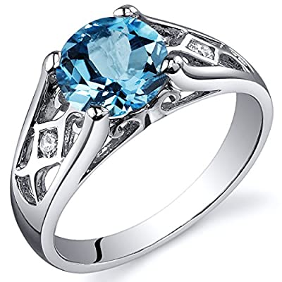 Top Swiss Blue Topaz Cathedral Ring Sterling Silver Rhodium Nickel Finish 1.75 Carats Sizes 5 to 9 hot sale