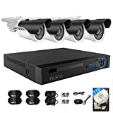 TECBOX 4CH Security Camera System AHD 720P DVR 1TB Hard Drive Included with 8 HD 1280TVL Outdoor CCTV Cameras WaterProof Metal Housing IR Cut Motion Detection