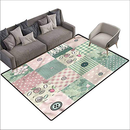 Patchwork Mat Pastel - Cute Design Anti-Slip Floor MAT Colorful Vintage,Shabby Pastel Patchwork 64
