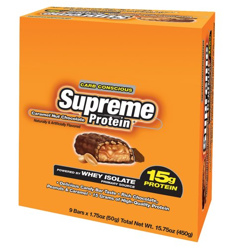 Supreme Protein 15g, Caramel Nut Chocolate, 9 - 1.75 oz bars