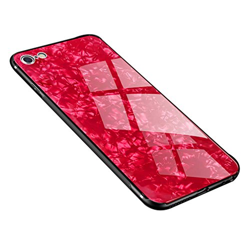 Solid Red Glass - Anyos iPhone 7 8 Case, Tempered Glass Pattern Painted Mirror Bumper Cover for iphone7 8 (Red Shell)