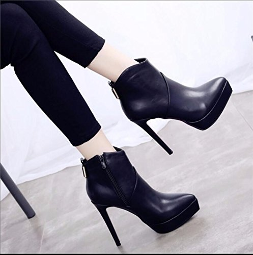 KHSKX-The New Winter Tip Fine With High Heels Girl Ultra-High With Waterproof Taiwan 12Cm Nightclubs Satin Boots Female 39 htAaOKyr