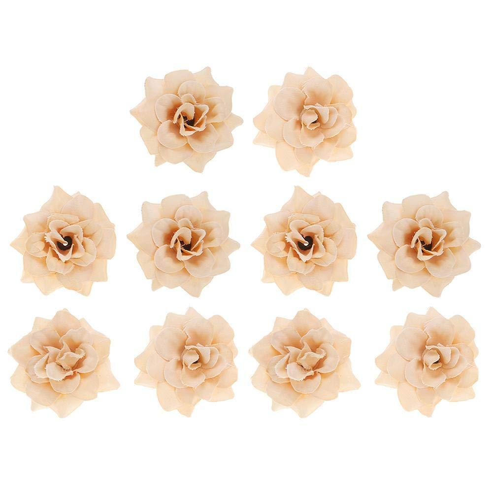 Asiproper 10個 4.5cm 人工シルク バラ DIY 人工 プラスチック 花 結婚式 装飾 ブラウン B07GS48CR2 コーヒー