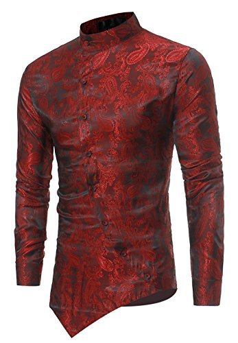 HOP Men's Casual Long Sleeve Irregular Longline Hem Slim Fit Paisley Button Down Dress Shirt Bandanna Embrodiery HOPM010-Wine-XL