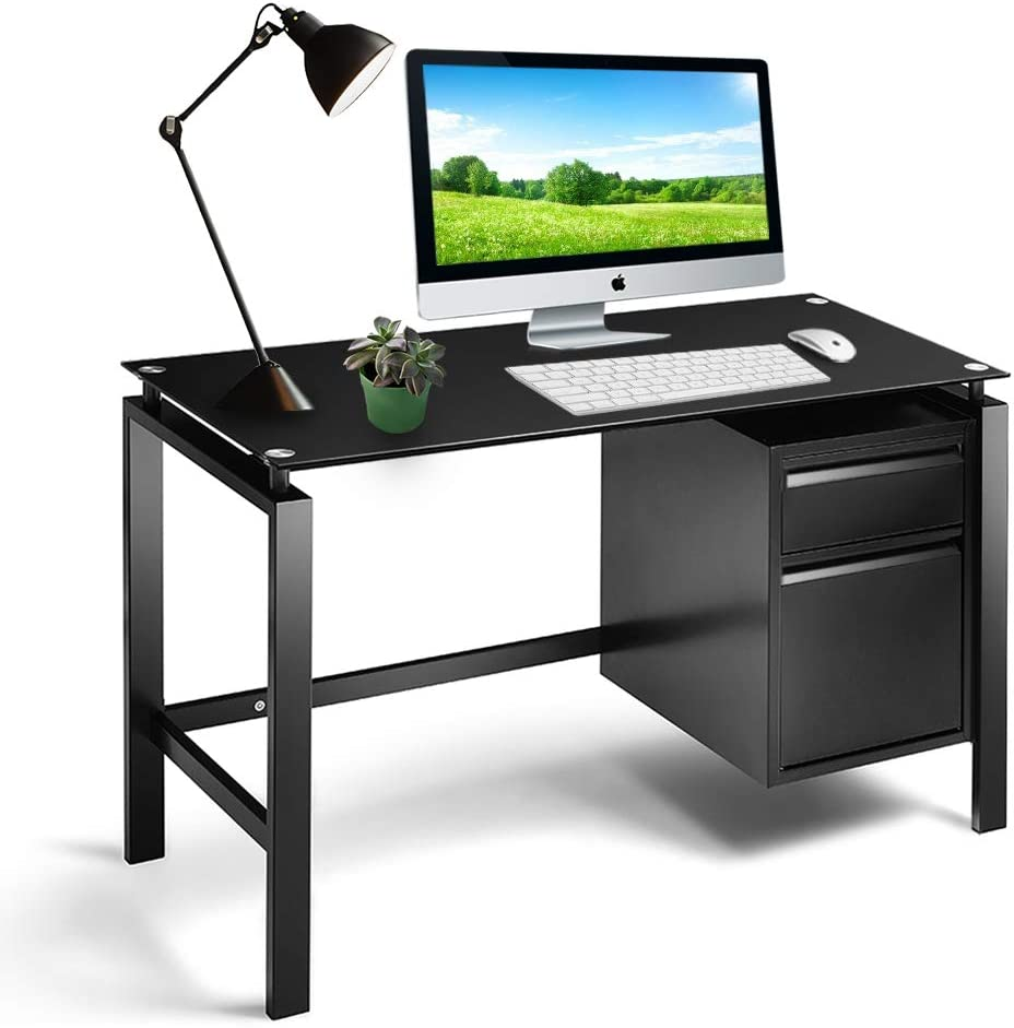 Amazon Com Intergreat Black Computer Office Desk Writing Desk With Premium Tempered Glass Top 2 Drawers Workstation Metal Office Desk 46 Inch Kitchen Dining