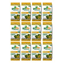 gimMe Snacks - Organic Roasted Seaweed - Toasted Sesame - (.35oz) - (Pack of 12) - non GMO, Gluten Free - Healthy on-the-go snack for kids & adults