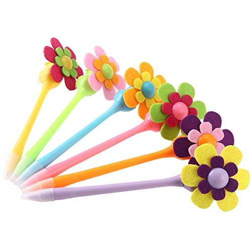 NUOLUX 6pcs 0.7mm Cute Flower Ballpoint Pen Sunflower Windmill Design Pens Mixed Colors