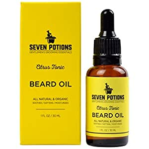 Beard Oil 1 fl oz by Seven Potions. Gentle Beard Softener. Stops Beard Itch. 100% Natural, Organic, Beard Conditioning Oil With Citrus Scent & Jojoba Oil (Citrus Tonic)