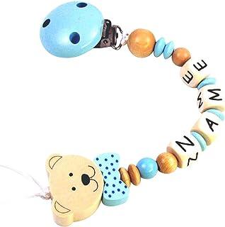 Catenella per ciuccio, con nome, di ottima qualità, modello Mr. &Mrs.Bear, motivo: orso, diversicolori, personalizzabile