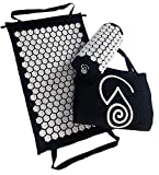 Acupressure Massage Back Mat and Prana Neck Pillow | Organic Eco Cotton Acupuncture Mats by Wellness Collections. Massager Sleep Set for Nerve Pain | Lower Sciatic Relief - Full Body Bed of Nails