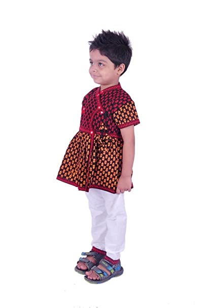 63b30e60d RTD Traditional Ethnic Fashion Red White Kids Boy Angrakha Dress   Amazon.in  Clothing   Accessories