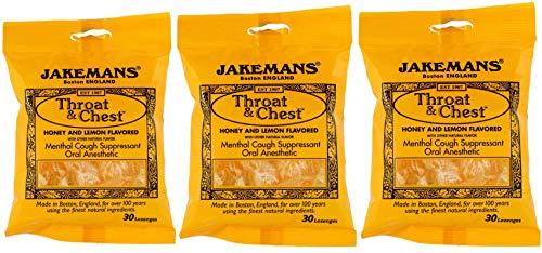 Jakemans Throat and Chest Lozenges (3 Pack) Honey Lemon and Menthol, Cough Suppressant Drops