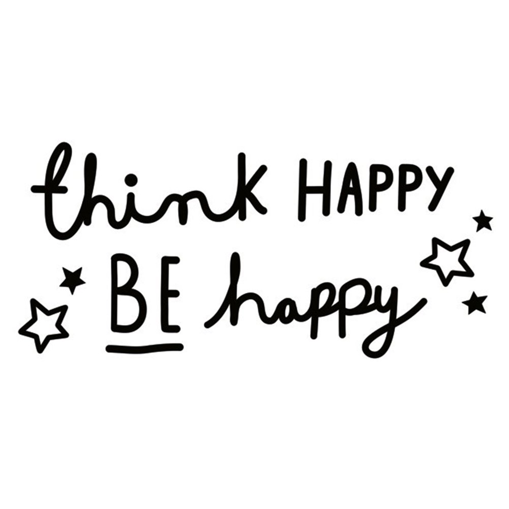 Fablcrew ''Think Happy be Happy Wall Decal Saying Family Room Quotes Sayings Stickers Wall Decor Size 13×28cm