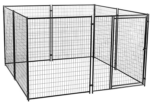 Dog Kennel - Lucky Dog Modular Box Kennel - This Welded Animal Enclosure is Perfect for Medium to Large Dogs and Animals and is Designed with Their Safety and Comfort In Mind. Dimensions (6'H x 10'L x 10'W); 200 lbs