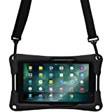 7'' inch Tablet case, Cooper Trooper 2K Shoulder Strap Rugged Heavy Duty Tough Bumper Protective Drop Shock Proof Rubber Silicon Carry Kids Toy Work Holder Carrying Cover Bag, Stand (Black)