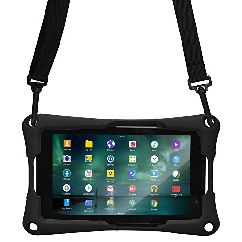 Cooper Trooper 2K Rugged Case for 7'' inch Tablet | Tough Bumper Protective Drop Shock Proof Kids Toy Work Holder Carrying Cover Bag, Stand (Black) (Acer 7 Inch Tablet Accessories)