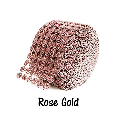 (Rose Gold Diamond Flower Bling Mesh Rhinestone Decoration Ribbon Wrap 4 inch )
