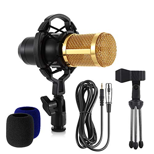 Yumingchuang Studio Microphone Singing Professional Singing Microphone BM800 Music Sound Recording Microphone for Computer Black,with 2PCS Sponge Sleeve