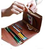 Ultrathin Leather Women Wallet & Passport Holder Multi-purpose Travel Document Holder (Color Coffee)
