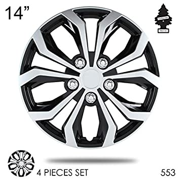 Nuevo diseño 14 pulgadas abs plástico Tapacubos Spyder rendimiento alfombrilla de negro y plata rueda Lug piel Juego de fundas de tapa de rueda 553 con ...