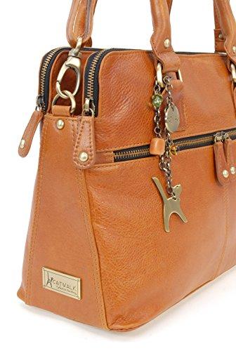 shopper hombro COLLECTION estilo Bolso Tostado VICTORIA vintage de CATWALK Cuero YPxIP