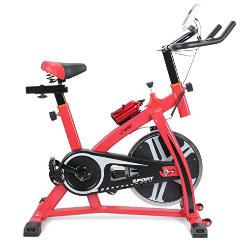 Gym Bike - Akonza Stationary Exercise LED Display Cycling Bicycle Heart Pulse Trainer Bike w/ Water Bottle Holder, Red