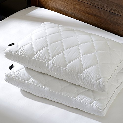 downluxe Set of 2 Quilted Down Feather Gusseted Pillows for Sleeping(Queen) 100% Cotton Downproof Cover Suprior Quality Bed Pillows