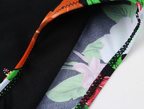 Aixy Mujer Vintage Halter Neck Bikinis Conjuntos Polka Dot Bikini Cintura Alta Trajes de Baño de Dos Piezas Naranja-1