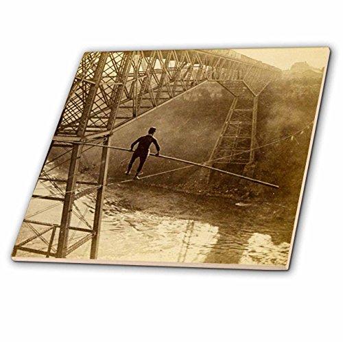 3dRose Scenes from the Past Vintage Stereoview Cards - Samuel Dixon crossing Niagara Falls Cantilever Bridge tightrope 1890 - 6 Inch Glass Tile - Glasses Falls Niagara