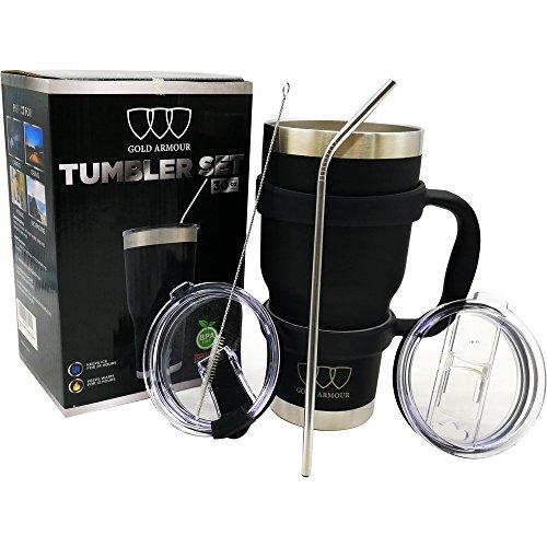 30 oz Tumbler 6-Piece Tumbler Set (7 COLORS: BLACK, BLUE, PINK, SEAFOAM, SS, WHITE) Ultra-Tough Double Vacuum Insulated Stainless Steel Travel Tumbler Bundle Straw Lid Handle Set Great Gift (Black)