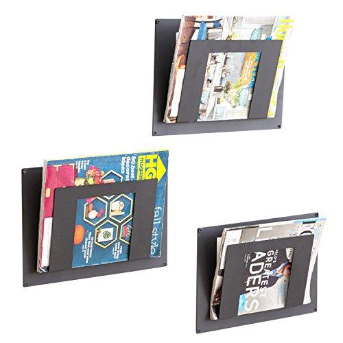 Modern Black Metal Wall Mounted Magazine Racks, Document Holders, Set of 3 (Magazine Rack Wall Bathroom)