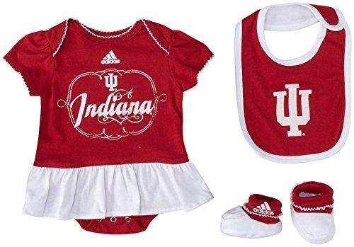 adidas Newborn Fanatic Bib&Bootie Creeper Set - U. Indiana - 6/9