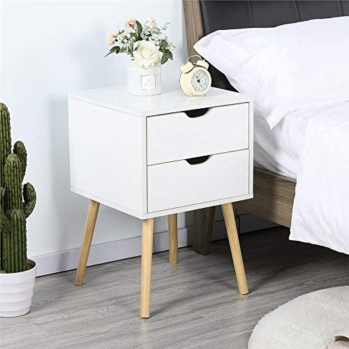 Yaheetech Bedside Table Nightstand with 2 Storage Drawers Solid Pine Wood Legs – End Side Table Coffee Table for Bedroom