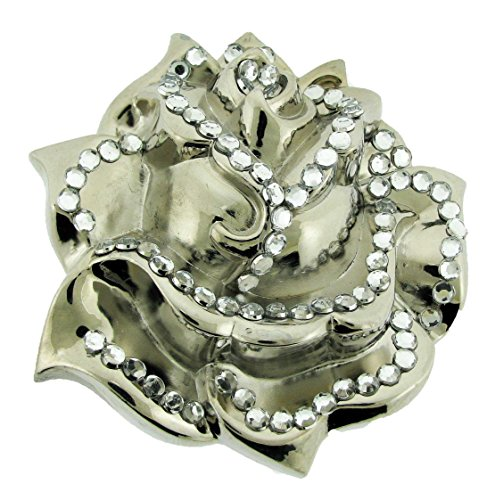 White Rose Girly Ladies Women Cowgirl Bling Rhinestones Belt Buckle Rock ()