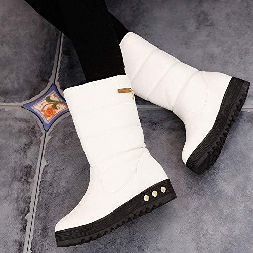 Botas para mujer, botas de nieve cálidas para el invierno Sólido de cuero Botas clásicas impermeables y gruesas a media pierna Botas antideslizantes con ...